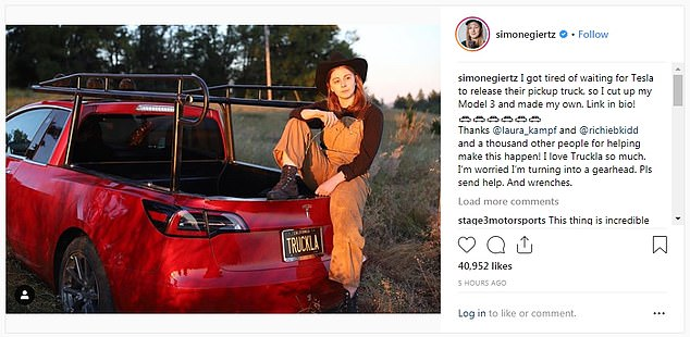 Žena prerobila Model 3 na vysnívaný Tesla super pick-up